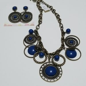 Indigo necklace and earrings